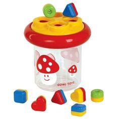 Sorteer paddestoel  Deze slimme puzzel doos is een leuke twist op een klassiek speelgoed! Kinderen zullen genieten van het sorteren van de leuke vormen in de juiste sleuven van de paddestoel. Het is natuurlijk ook altijd heerlijk om met de doos te schudden, rammelen en om de stukken weer op de grond te gooien om helemaal opnieuw te beginnen.   Perfect voor het oefenen van de behendigheid, coördinatie en voor uren speelplezier!  Afmetingen: D-18cm x H-18cm
