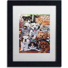 Trademark Fine Art 'Country Pups and Kittens II' Canvas Art by Jenny Newland, White Matte, Black Frame, Size: 11 x 14, Assorted