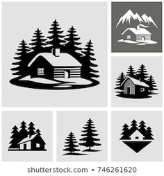 Cabin Tattoo, Silhouette Clip Art, Wood Burning Patterns, Cabins In The Woods, Vector Icons, Vector Stock, Vector Art, Royalty Free Photos, Vinyl Decals