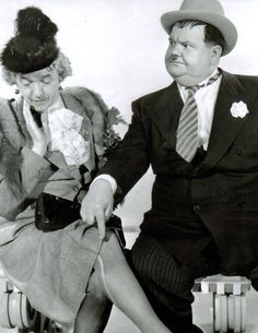 Stan Laurel (in drag) and Oliver Hardy. Laurel And Hardy, Stan Laurel Oliver Hardy, Laurel Burch, Classic Comedies, Classic Movies, Vintage Hollywood, Classic Hollywood, Business Cartoons, Photo Star