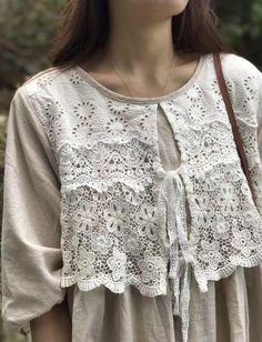 I love this - based on front ruffle idea - crocheted yoke. Refashion.
