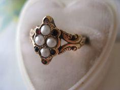 Victorian Seed Pearl & Garnet Ring from inspiredbynanny on Ruby Lane Garnet Rings, Ruby Lane, Class Ring, Seeds, Gemstone Rings, Victorian, Brooch, Pearls, Gemstones