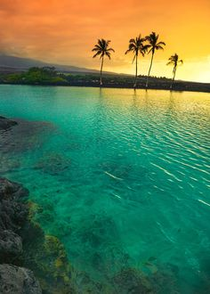 Sunset at Kiholo Bay, Big Island of Hawaii, United States