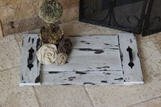 Handmade reclaimed wood, this wood pallet tray is a practical addition to any home. Assembled using large head galvanized nails for the handles.