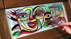 ACRYLIC PAINTING OF PICASSO STYLE FACES TIME LAPSE ART BY RAEART