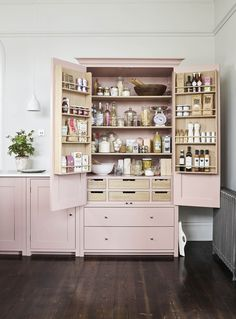Kitchen ~ How to decorate with pink. Neptune Suffolk larder painted in Old Rose. : Kitchen ~ How to decorate with pink. Neptune Suffolk larder painted in Old Rose. Diy Kitchen Storage, Home Decor Kitchen, Country Kitchen, Kitchen Furniture, Kitchen Interior, New Kitchen, Cheap Kitchen, Diy Furniture, One Wall Kitchen