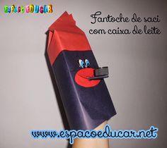 ESPAÇO EDUCAR: Folclore: saci feito com caixa de leite reciclada que serve como fantoche para contação de histórias!
