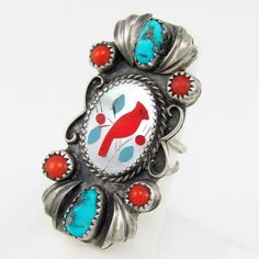 Turquoise coral and mother of pearl ring