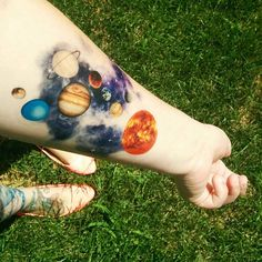 Temporary Tattoo Watercolor Solar System Sun Moon by Siideways