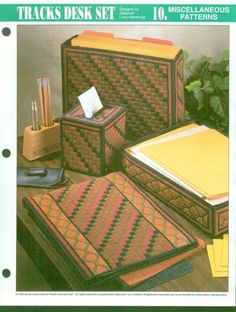 Tracks Desk Set Plastic Canvas Tissue Boxes, Plastic Canvas Crafts, Plastic Canvas Patterns, Mike Bell, Everyday Holidays, Canvas Designs, Sewing Diy, Desk Set, Tissue Box Covers