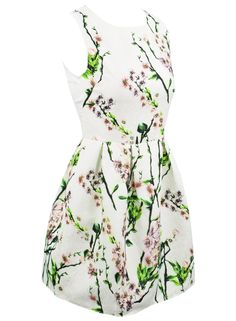 the dress is featuring scenery print, round neck, sleeveless design and a-line silhouette.