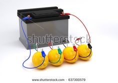 Electricity From Lemon battery on white background. Bio battery.3D Render.