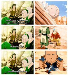 Korra: What about that time when you guys took down the Fire Lord? That must've been epic! Toph: Oh yeah! It was hot. I was on a blimp, and I think a giant turtle showed up! Wow, what a day.
