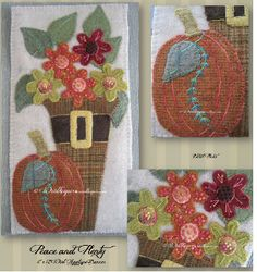 """Peace and Plenty Wallhanging/Banner Pattern by Woolkeeper at KayeWood.com. This 6"""" x 12"""" all wool applique banner features beautiful hand dyed and mill dyed wool.  Decorative stitching enhances the flowers in the pilgrim's hat. http://www.kayewood.com/Peace-and-Plenty-Wallhanging-Banner-Pattern-by-Woolkeeper-WK-PEPL.htm $9.00"""