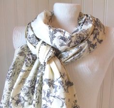 Pretty toile patterned scarf