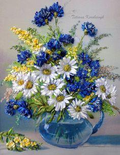 Ricamo  Vaso coi fiori  di campo in vaso  di SilkRibbonembroidery