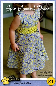 A Molly Size Freebie Dress Pattern. Sleeve add-on New Dress Pattern, Girl Dress Patterns, Clothing Patterns, Skirt Patterns, Coat Patterns, Blouse Patterns, Toddler Dress Patterns, Sewing Patterns Girls, Sewing Kids Clothes