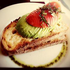 #toasts #avocado #tomato #basil on #pesto #oil