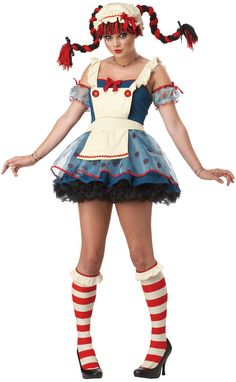 Rag Doll Adult Costume Includes dress with attached apron and layered skirt, mop cap, polka dot puff sleeves, and knee socks. Weight (lbs) 0.89 Length (inches) 15 Width (inches) 2 Height(inches) 15