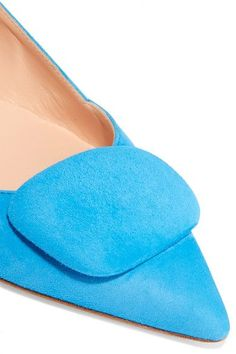 Rupert Sanderson - Aga Suede Point-toe Flats - Bright blue - IT40.5