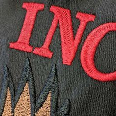 #embroidery - My first piece for the UK-based @imagesmaguk is out with tips on how to make your #workwear stitching tougher! Check it out! This tight split satin lettering is less likely to catch and fray than a traditional satin stitch of the same size.