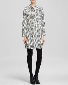 AQUA Shirt Dress - Zig-Zag Print   Bloomingdale's