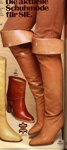 loading Thigh High Boots, High Heel Boots, Over The Knee Boots, High Heels, 70s Fashion, Fashion Boots, Vintage Fashion, Vintage Boots, Long Boots