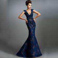 2016 elegante Royal Blue Mermaid Langes Abendkleid V-ausschnitt Appliques Bodenlangen Abendkleider Vestidos De Fiesta Robe De Soiree //Price: $US $140.25 & FREE Shipping //     #clknetwork
