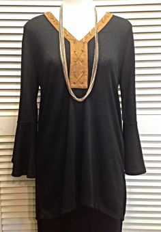 August Silk  - Black sweater with brown trim  - $60