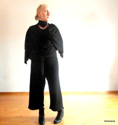 """upcycled- reused- handmade outfit:  """"No more"""" secondhand jacket-shawl """"Pull & bear"""" trousers """"ntintimania"""" handmade crochet necklace made of upcycled yarn remnants and spiral wire earring """"Clarks"""" booties no firm top"""