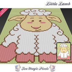 Little Lamb graph crochet pattern instant by TwoMagicPixels Crochet C2c, Graph Crochet, Crochet Stitches Patterns, Baby Blanket Crochet, Stitch Patterns, Crochet Afghans, Graph Design, Bobble Stitch, Plastic Canvas Patterns
