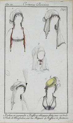 1802, Costumes Parisiens. Turbans