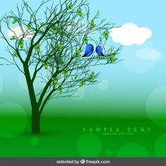 Fondo de la naturaleza con el árbol y los pájaros