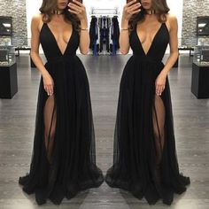 Black deep V-neck Evening Dress, tulle long prom dresses,evening dress,formal dress