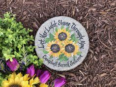 "Sunflower Memorial Stone - ""Let Your Light Shine"" - SAM Designs Painted Stepping Stones, Memorial Stones, Let Your Light Shine, Step By Step Painting, Garden Stones, Stone Painting, Lost, Hand Painted, Memories"