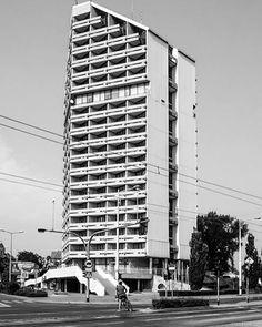 """Kredka (""""Crayon"""") and Ołówek (""""Pencil"""") - student dormitories, University of Wrocław. Wrocław, Poland, built in 1980 Architect: Marian Barski © BACU #socialistmodernism"""