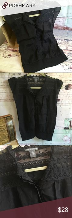"ISABELLA RODRIGUEZ Black Top, Size S but Black top with shirred waist and Crochet and lace embellished.  This is marked size LARGE but was professionally altered to fit a small. 100% cotton.  Chest measures 16.5 and it is 21"" long.  EUC Isabella Rodriguez Tops"