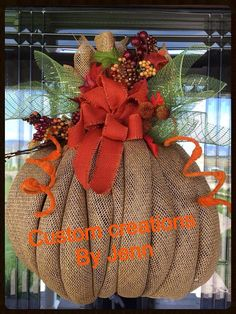 burlap  pumpkin wreath by Decoaddictions on Etsy