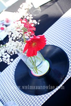 Whimsy & Wise Events: Rock-A-Bye Baby Shower: Baby Brixton Music Party Decorations, Party Centerpieces, Party Themes, Party Ideas, Music Centerpieces, Room Decorations, Shower Party, Baby Shower Parties, Baby Shower Themes