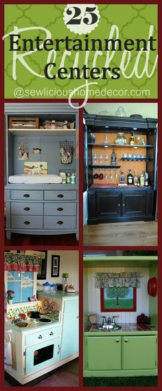 25 Creative Recycled Entertainment Centers and TV Stands. Furniture DIY Projects @  sewlicioushomedecor.com