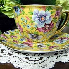yellow floral chintz cup and saucer