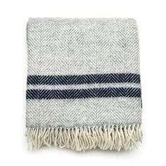 British Made Herringbone Stripe Blanket Grey - The Future Kept - 1