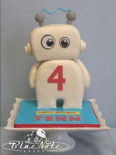 4th birthday kids birthday robot cake   Blue Note Bakery - Austin, Texas
