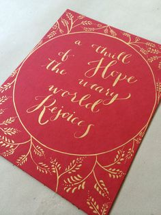 """Calligraphy Christmas Carol Quote from O Holy Night, """"A thrill of Hope the weary world Rejoices"""" by PhoebeThomas on Etsy"""