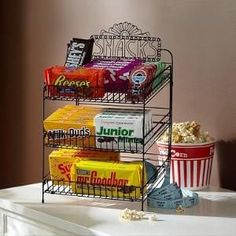 home theater snack bar my hubby LOVES snacks! And our house is famous for them. This would be perfect for our home theater room. Backyard Movie Nights, Outdoor Movie Nights, Movie Theater Rooms, Home Theater, Theatre Rooms, Theater Room Decor, Movie Rooms, Cinema Room, Movie Theater Snacks