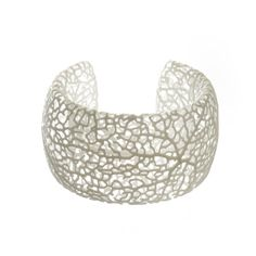 Rhizome Cuff white 3d printed nylon bracelet by nervoussystem, $75.00