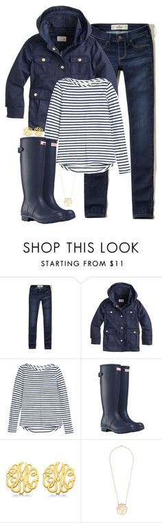 """""""It's been raining for the past three days, when is this going to stop."""" by keileeen ❤ liked on Polyvore featuring Hollister Co., J.Crew, H&M, Hunter and Allurez"""