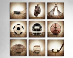 Sports Wall Art Set of Nine photo prints Boys by shawnstpeter