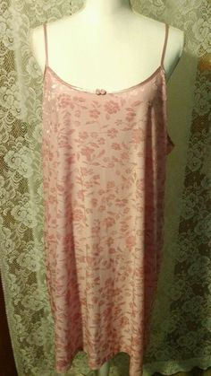 Gilligan&omalley gown Burnt out floral pink texture 2X nwot adjustable straps #GilliganOMalley #Gowns #nighttime