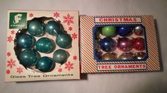 20 Vintage Christmas Glass Feather Tree Ornaments All in BOXES Santa Land Franke